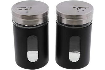 (Black) - Black Salt Pepper Shakers Retro Spice Jars Glass - Set of 2