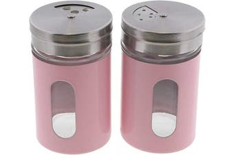 (Light Pink) - Light Pink Salt Pepper Shakers Retro Spice Jars Glass - Set of 2