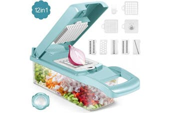 (12 in 1, Light Blue) - Vegetable Chopper, 12 in 1 Onion Chopper with Large Container, Adjustable Mandolin Slicer, Household Kitchen Cutter for Veggie, Vegetable Cheese Fruit Chopper Dicer Cutter Series