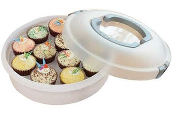 (Gray) - 10 Inch Portable Pie Carrier with Lid and Tray 3-In-1 Round Cupcake Container Egg Holder Muffin Tart Cookie Keeper Food (Grey)