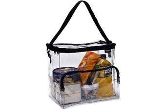 (Large) - Clear Lunch Bag - Durable PVC Plastic See Through Lunch Bag with Adjustable Shoulder Strap Handle for Prison Correctional Officers, Work, School, Stadium Approved, Freezer Proof and Lead Free (Large)