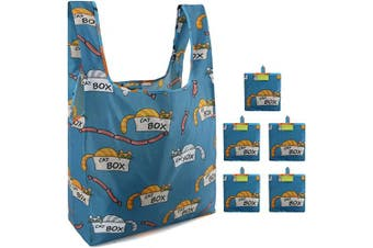 (Dark Blue Box Cat) - Reusable Grocery Bags Set Of 5 with Little Attached Pouch Cute Animal Shopping Bags Lightweight Ripstop Foldable Bags Machine Washable Cat