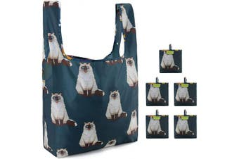 (Blue Cat) - Cute Cat Reusable Bags Set of 5 Reusable Grocery Totes Lightweight 23kg Reusable Grocery Bags Machine Washable Gift Groceries for Shopping Folding with Attached Pouch Eco Friendly