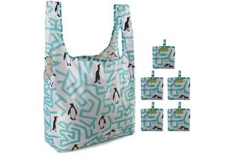(White Green Penguin) - Penguin Reusable Bags for Shopping Set of 5 Lightweight Sturdy Adorable Animal Design White Cloth Gift Grocery Bags Easily Folding into Attached Pouch Large Folding Bags for Groceries