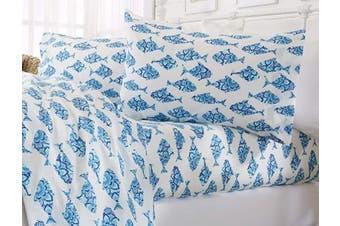 (Full, Fish) - Great Bay Home Printed Coastal Microfiber Bed Sheets. Wrinkle Free, Deep Pockets, Beach Theme Sheet Set. Newport Collection (Full, Fish)