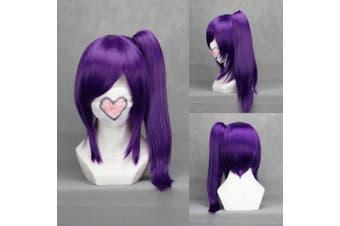 46cm Straight Purple Cosplay Wig + 1 Clip on Ponytail -- Gintama Terakado Tsuu