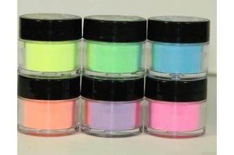 6 Mia Secret Flash Neon Acrylic Nail Art Powder Glows Under the Black Light 6 Neon Colours