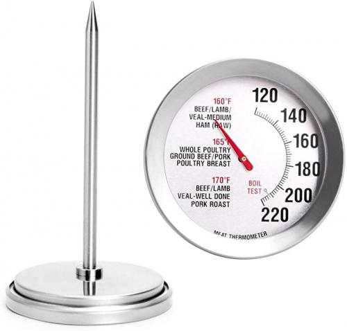 (12cm ) - Meat Thermometer Extra Large Dial 7.1cm Meat & Poultry Thermometer Stainless Steel Safe Waterproof Classic Design BBQ Poultry Probe Cooking Meat Thermometer for Household Cooking Turkey Pork Beef Size: 12cm