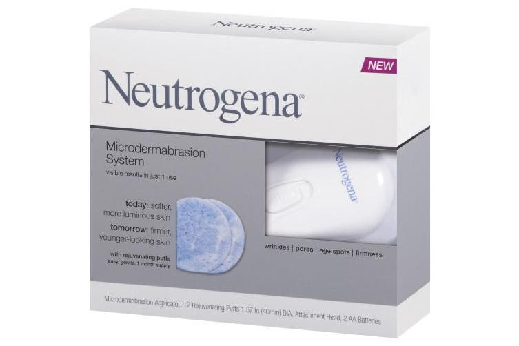 Neutrogena Microdermabrasion Starter Kit – At home microdermabrasion machine - Skin Exfoliator with Glycerin - Skin Firming, Pore Minimizer, Age Spot Remover- 1 month supply, 1 ct