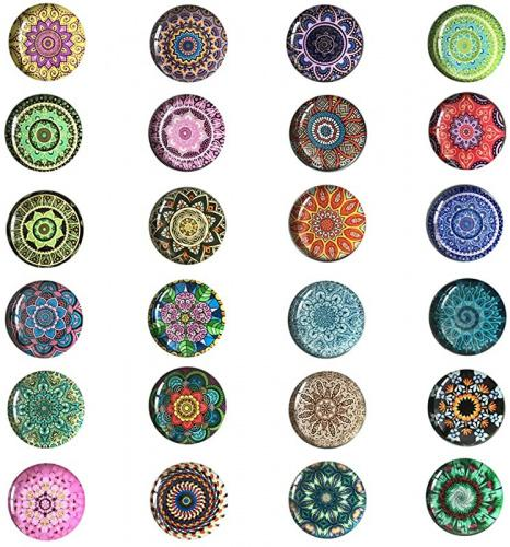 24 Pieces Beautiful Glass Refrigerator Magnets, Pretty Fridge Magnets for Office Cabinet Refrigerator Whiteboard Photo Brand: Conpru Dimensions: 17.3 × 14.0 × 1.8 centimetres
