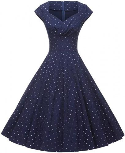 (Small, Dark Blue Dot) - GownTown Womens Dresses Party Dresses 1950s Vintage Dresses Swing Stretchy Dresses Size: SmallColour: Dark Blue Dot