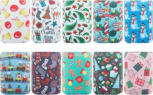 10 Styles HaiMay 10 Pieces Beer Can Sleeves Beer Can Coolers Neoprene Drink Cooler Sleeves for Cans and Bottles