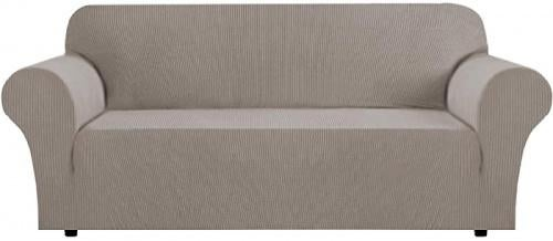 (Large, Taupe) - Stretch Sofa Slipcover Sofa Covers for Living Room 1 Piece Furniture Lounge Cover for Sofa Feature Spandex Jacquard Fabric for 3 Seater Sofa Cover (Sofa, Taupe) Size: LargeColour: Taupe