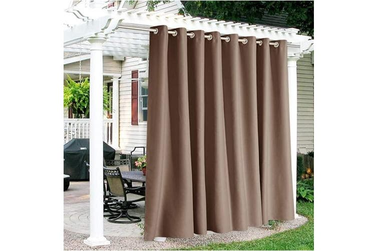 300cm x 270cm mocha ryb home outdoor curtains waterproof indoor outdoor patio curtains weatherproof blackout light block drapes for outdoor