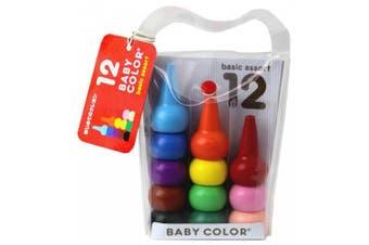Aozora Baby Colour Stackable Crayon Bit - 12 Basic Colour Set
