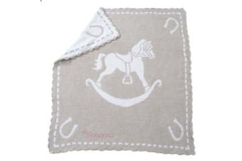 (Stone & White) - Barefoot Dreams Scallop Cozychic Baby Receiving Blanket