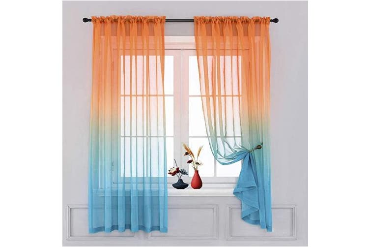 Teal And Orange Sheer Curtains Ombre, Sheer Orange Curtains