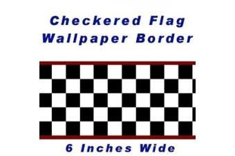 Chequered Flag Cars Nascar Wallpaper Border-15cm (Red Edge)