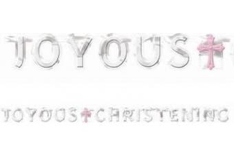 1.8m Christening Foil Letter Banner