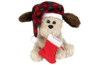 """Chantilly Lane 25cm Nutmeg Dog with Flapping Ears Sings """"Hark The Herald Angels Sing"""""""