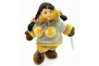 Alaska Eskimo Fur Parka Beanbag Rubber Face GIRL Doll 28cm Grey