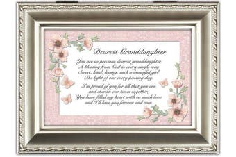 Dearest Granddaughter Champagne Silver Cottage Garden Traditional Music Box Plays Light Up My Life