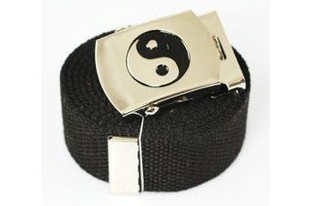 """Ying Yang"" Canvas Military Black Web Belt & Buckle 150cm"