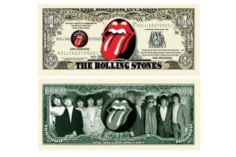 American Art Classics Rolling Stones 50th Anniversary Million Dollar Bill - Limited Edition Collectible Novelty Dollar Bill in Currency Holder Protector - Best Gift Or Keepsake