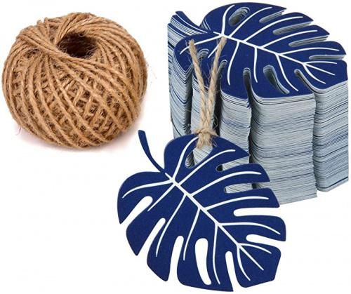 (Navy) - WRAPAHOLIC Gift Tags with String - 100PCS Navy Tropical Palm Leaves Tags with 30m Natural Jute Twine Colour: Navy