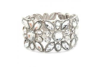 Bridal Wedding Jewellery Multi Shapes Teardrop Fashion Stretch Bracelet Silver