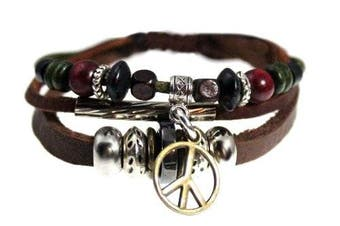Peace Drop Genuine Leather Zen Bracelet - Adjustable, Fits 5.5 to 20.3cm , for Men, Women, Teens, Boys and Girls in Gift Box