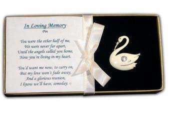 BANBERRY DESIGNS Bereavement Swan Pin Jewellery Memorial Brooch