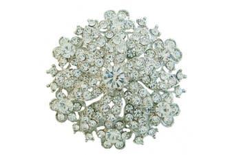 Ever Faith Silver Tone Wedding Party Bridal Austrian Crystal Brooch Pin Clear