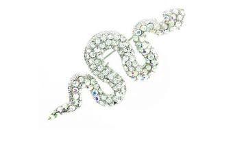 Clear Crystal on Silver Plated Exotic Snake Brooch