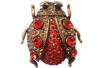 4.8cm x 5.1cm Crystal Lady Bug Pin/Pendant, Gorgeous!, in Orange with Antique Copper Finish
