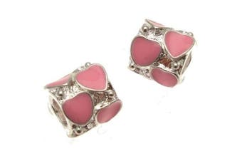 Acosta Jewellery Beads - Pink Enamel Heart Spacer - Slide On and Off Bead Charms - Set of 2 (Silver Plated)
