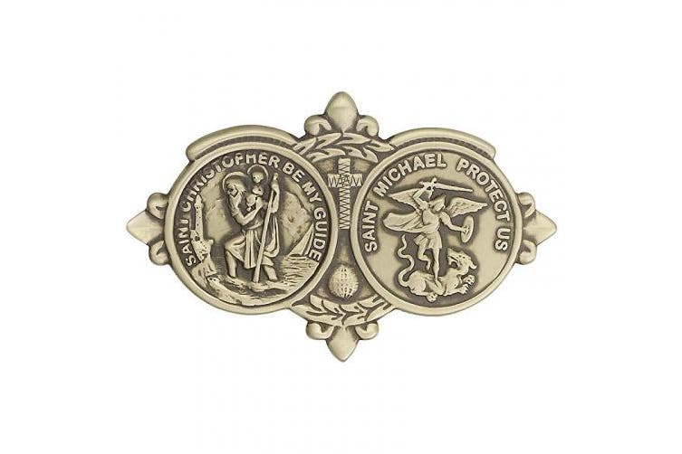 Gold Tone St. Christopher/St Michael Visor Clip