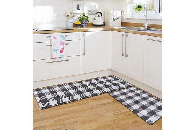 Black Rosmarus Kitchen Rugs Set 2 Piece Cushioned Anti Fatigue Kitchen Mats For Floor Non Slip