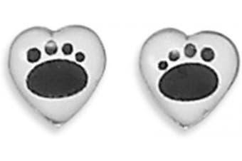Heart Paw Prints 6mm Sterling Silver Stud Earrings