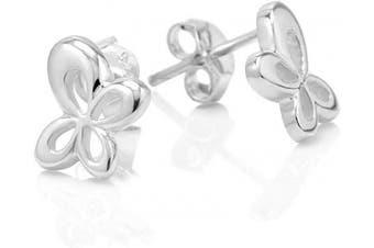 925 Sterling Silver Tiny Butterfly 8 mm Post Stud Earrings