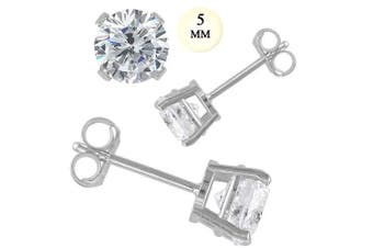 Crazy2Shop 14K White Gold 5mm Round Simulated Diamond Prong Setting Earrings, 1.00 cttw