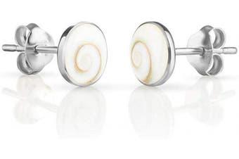 (White Shiva Eye Shell) - 925 Sterling Silver Tiny Shiva Eye White Swirl Shell Post Stud Earrings 5 mm Fashion Jewellery for Women, Teens, Girls - Nickel Free