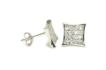 Kite Shape Diamond Pave CZ Sterling Silver Stud Earrings 7mm