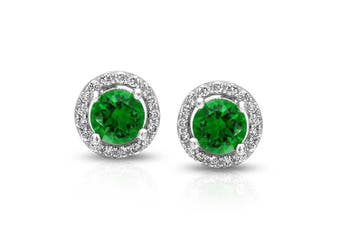 (Green) - 1CT Cubic Zirconia Round Brilliant Cut Solitaire Halo AAA CZ Stud Earrings For Women 925 Sterling Silver More Colours