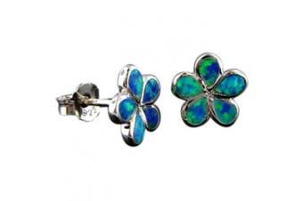 Rhodium Silver Opal 10mm Plumeria Earrings Hawaiian Jewellery