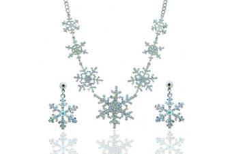 Ever Faith Bridal Silver Tone 7 Snowflake Necklace Earring Austrian Crystal Clear Ab Flower Set