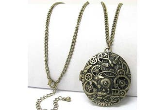 Steampunk Gears and Train Scent Aroma Locket Pendant with 76.2cm Adjustable Necklace
