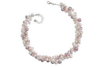 """Chuvora Genuine Pink Cultured Fresh Water Pearl with Crystal 3-Strand Silk Thread Cluster Necklace 16""""-17"""" Princess Length"""