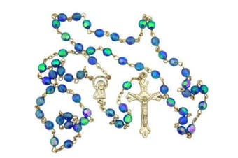(Light Blue) - PLC Light Blue Aurora Borealis Glass 6MM Bead Rosary w Virgin Mary Centre