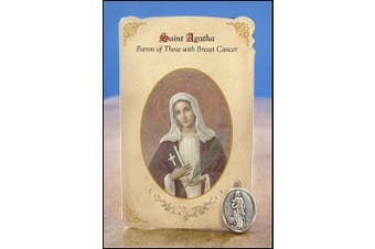 Saint Agatha Patron of Those With Breast Cancer Cardstock Prayer Card w/ 2.5cm Silver Plate Medal of St Devotional Gift